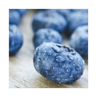 Wet Blueberry Stretched Canvas Prints