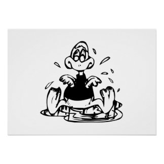 Wet Cartoon Duck Print