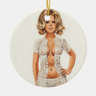 Wet clothes vintage pinup girl christmas ornament