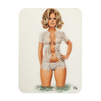 Wet clothes vintage pinup girl magnet