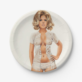 Wet clothes vintage pinup girl paper plate