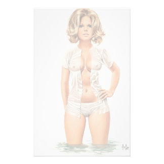 Wet clothes vintage pinup girl stationery