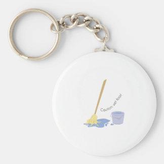 Wet Floor Basic Round Button Key Ring