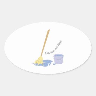 Wet Floor Oval Sticker