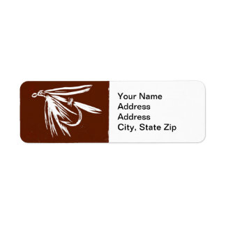 """Wet Fly in Brown"" Trout Fly Return Address Label"