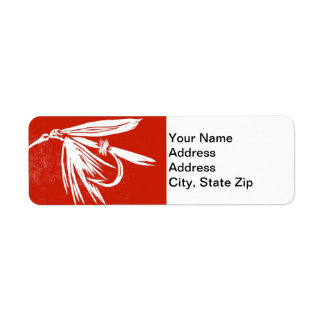 """Wet Fly Red"" Trout Fly Return Address Label"