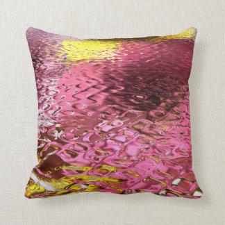 Wet Look Pink Abstract Throw Cushion