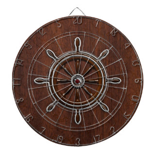 Wet Nautical Mahogany Nautical Wheel Dartboard