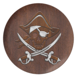 Wet Nautical Mahogany Pirate Skull Steel Plate