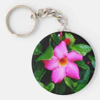 Wet Pink Flower Key Ring