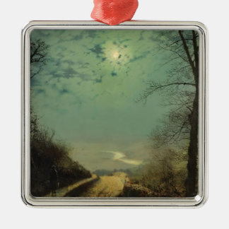 Wet Road By Moonlight, Wharfedale by John Grimshaw Christmas Tree Ornaments