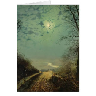 Wet Road By Moonlight, Wharfedale by John Grimshaw Greeting Card