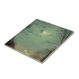 Wet Road By Moonlight Wharfedale by John Grimshaw Ceramic Tile