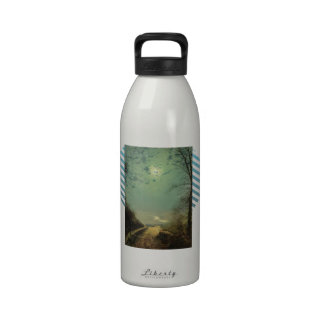 Wet Road By Moonlight, Wharfedale by John Grimshaw Reusable Water Bottle
