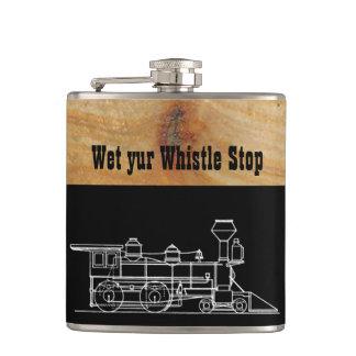 Wet yur Whistle stop train Hip Flask