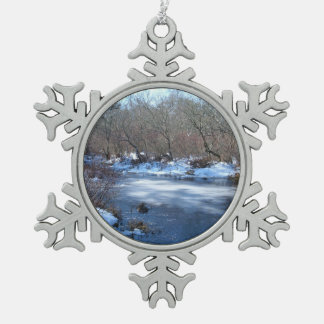 Wetland Ponds in Winter Pewter Snowflake Decoration