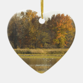 WETLAND WITH AUTUMN TREES IN BACKGROUND AND DUCKS CHRISTMAS ORNAMENT
