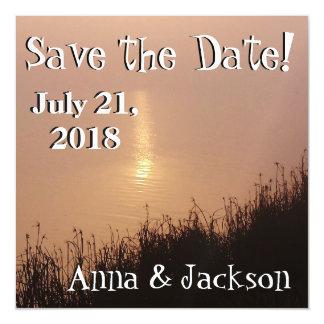 Wetlands Dawn Sunrise Gold Save Date Magnet Card Magnetic Invitations