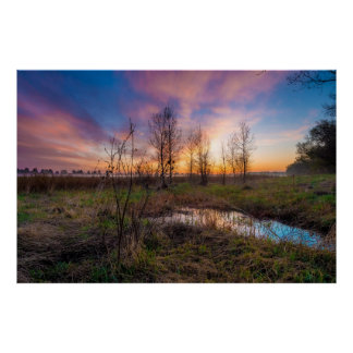 Wetlands/Grasslands Sunset Poster