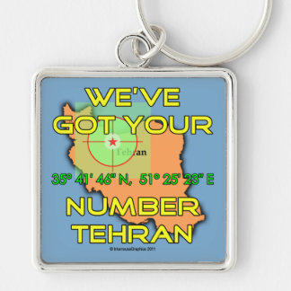 We've Got Your Number Tehran Silver-Colored Square Key Ring