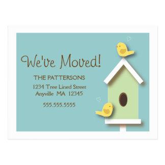 We've Moved Birdhouse New Address Postcard