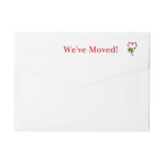 We've Moved Candy Cane Heart  Christmas label