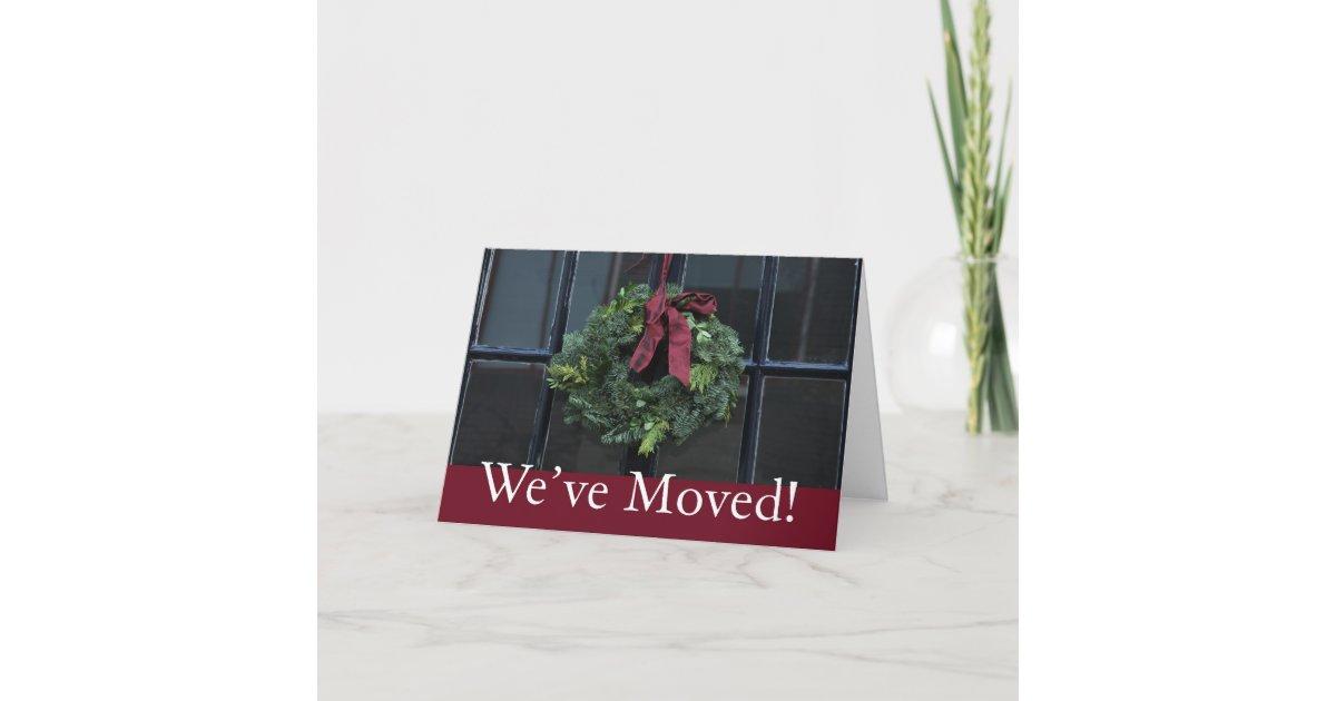 We\'ve Moved - Christmas wreath new address Holiday Card   Zazzle.co.uk