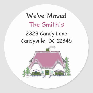 We've Moved Cozy House Round Sticker