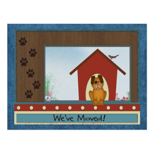 We've Moved Cute Doghouse and Paw Prints New