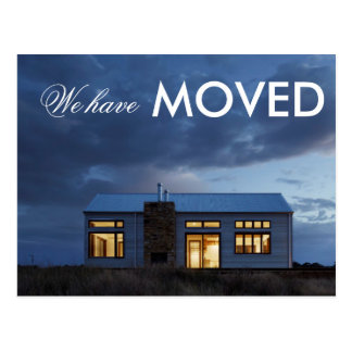 We've Moved  Evening Photo Postcard