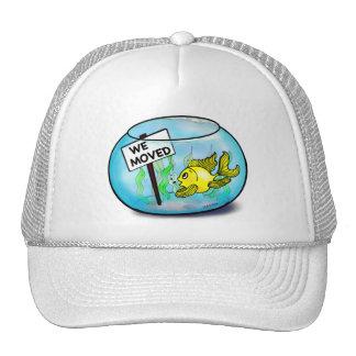 We've Moved funny cute goldfish fish tank cartoon Cap