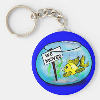 We've Moved funny cute goldfish fish tank cartoon Key Ring
