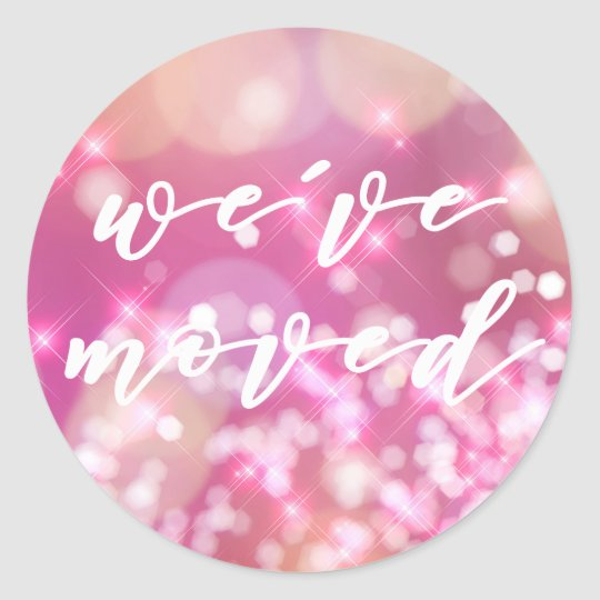 We've moved  | Glamourous Pink Sparkle Stickers