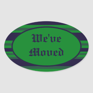 We've Moved green blue stripes Stickers