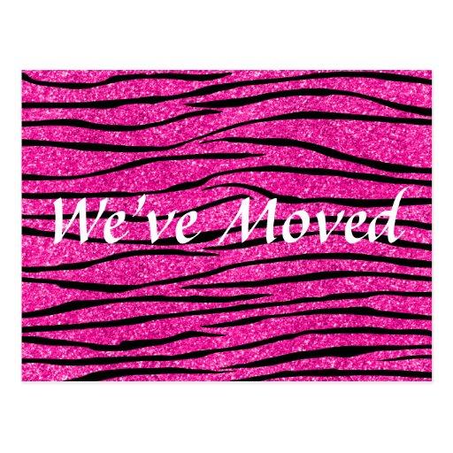 We've moved hot pink glitter zebra stripes postcards