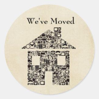 We've Moved House Sticker/Label Round Sticker