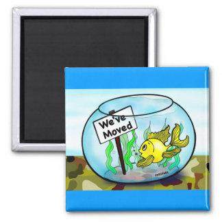 We've Moved Military  goldfish fish tank cartoon Square Magnet