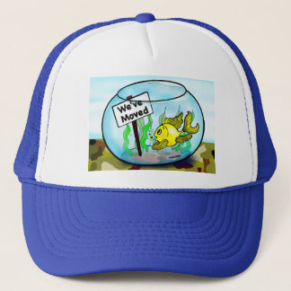 We've Moved Military  goldfish fish tank cartoon Trucker Hat