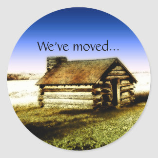 We've Moved Old Log Cabin Classic Round Sticker
