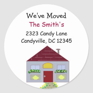 We've Moved Our Home Round Sticker