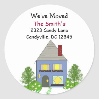 We've Moved Our Residence Round Sticker