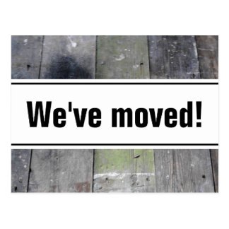 We've moved postcards | wooden floor panel image