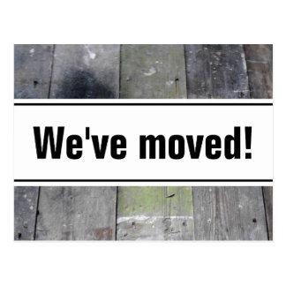 We've moved postcards   wooden floor panel image