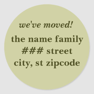 we've moved! return address labels - personalize round sticker