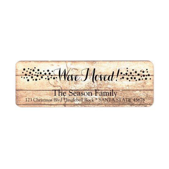 We've Moved Rustic wooden holiday label