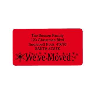 We've Moved Snowflake Christmas Address Label