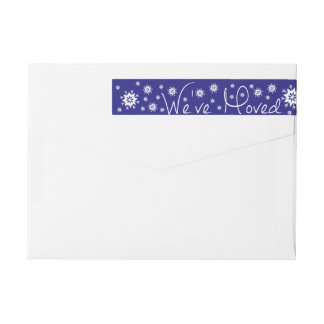 We've Moved Snowflake Christmas Wrap Around Label