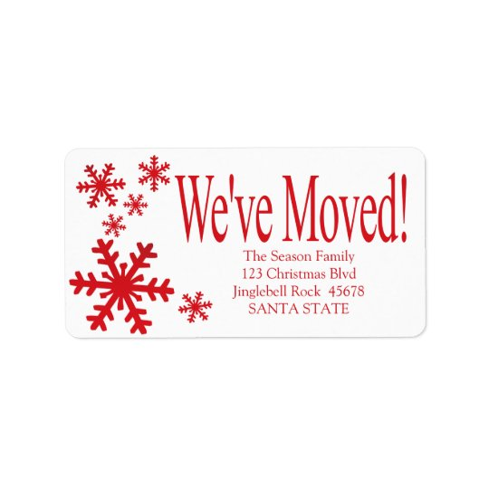 We've Moved snowflake holiday Label Address Label