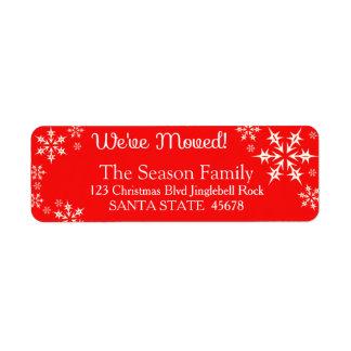We've Moved snowflake holiday Label Return Address Label