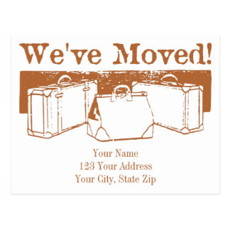 We've Moved Suitcases Postcard